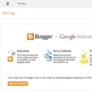 google adsense earning money with blogger