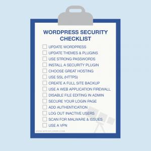 wordpress security checklist for wordpress websites